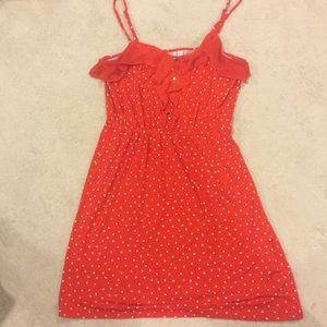 Red and white polkadot dress